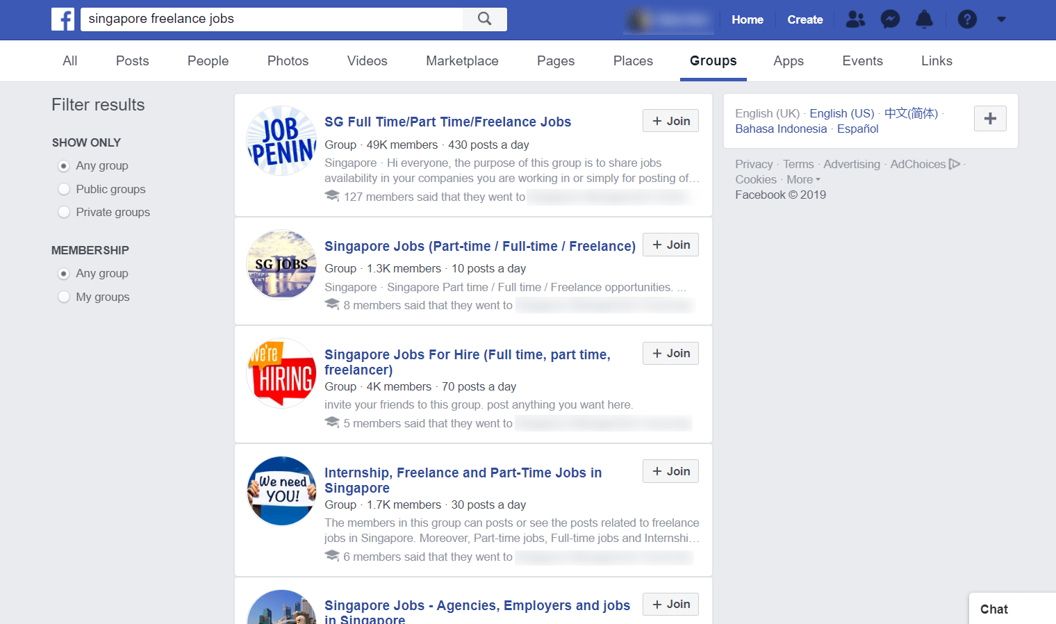 "Search results for ""singapore freelance jobs"" on Facebook"