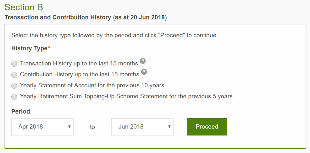 Screenshot of the check transaction history section in the my cpf online service.