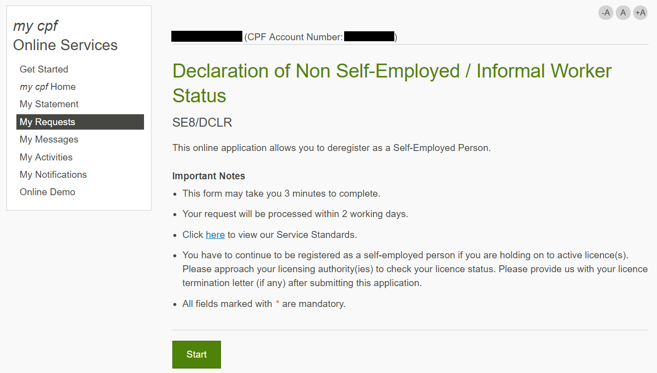 Screenshot of the Self-Employed Person de-registration page in the my cpf online service.