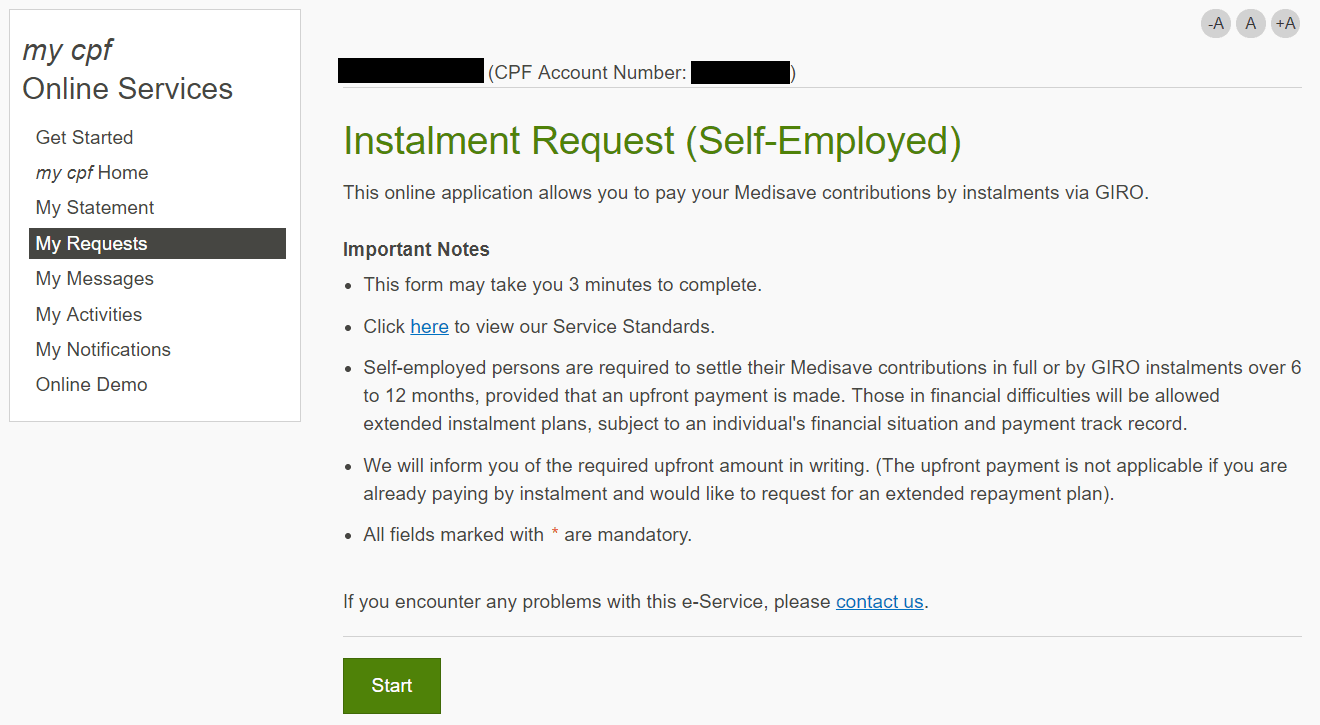 Screenshot of the Medisave instalment payment page in the my cpf online service.
