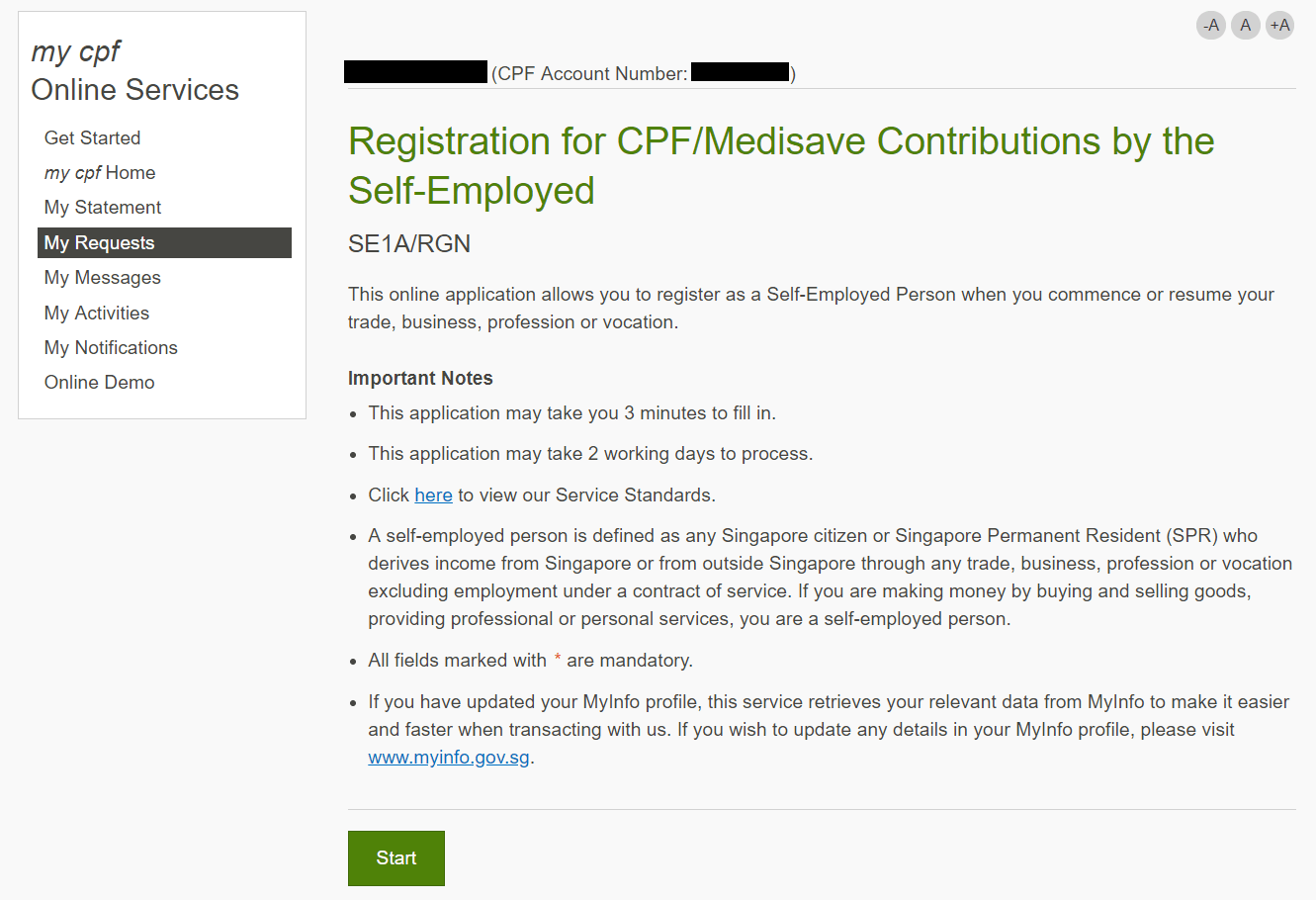 Screenshot of the Self-Employed Person registration page in the my cpf online service.
