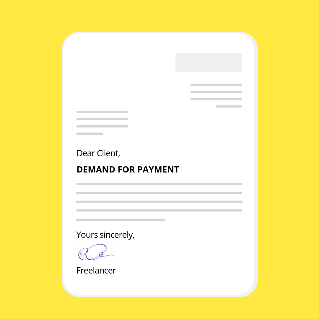Demand letter for payment mock-up