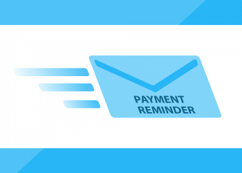 """Envelope with the words """"PAYMENT REMINDER"""" on its way to a client"""