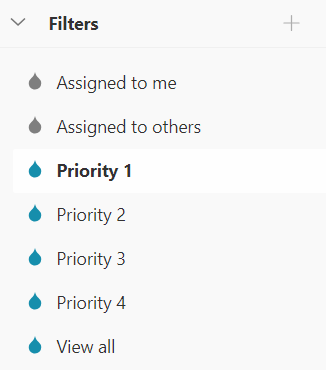 Filters in Todoist (e.g. Priority 1, Assigned to me, View all)