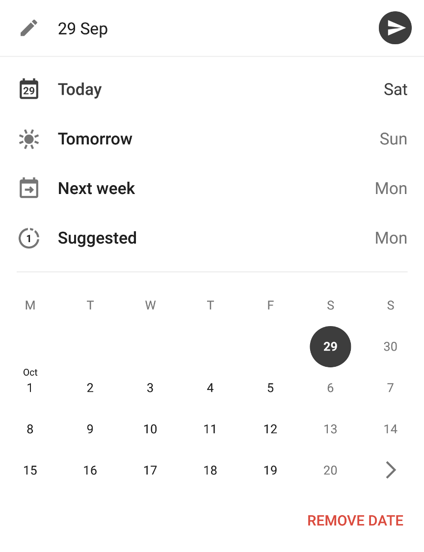 Rescheduling of tasks in Todoist - e.g. tomorrow, next week, or the Smart Schedule feature's suggested date