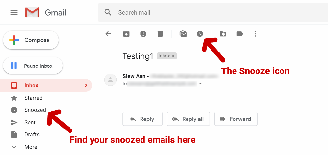 The Gmail interface, with arrows pointing to the Snooze clock icon, and the Snoozed tab in the Gmail menu where all snoozed emails will be filed