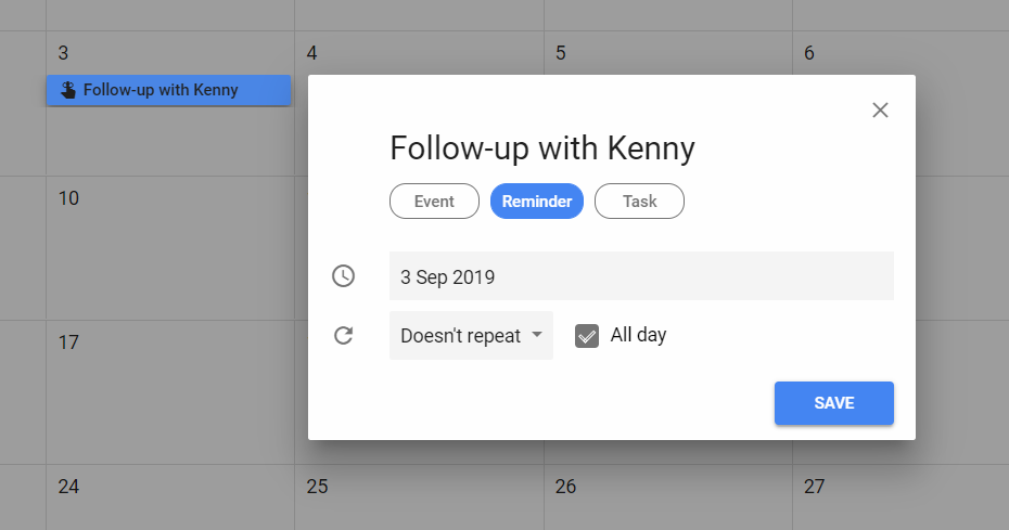 Interface for creating a reminder in Google Calendar
