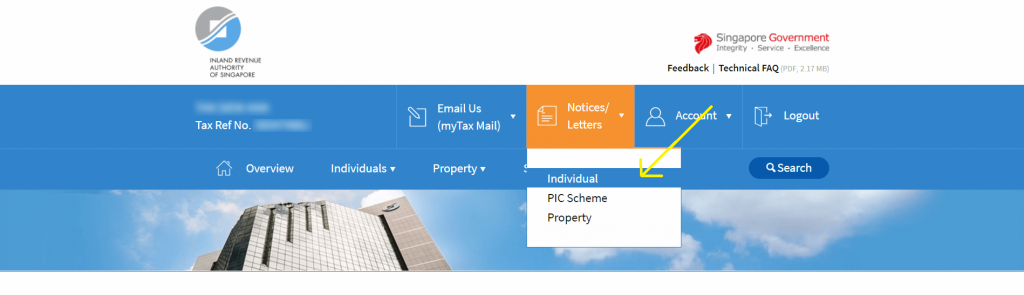 """In the navigation header menu in the myTax Portal, click on """"Notices/Letters"""" followed by """"Individual""""."""
