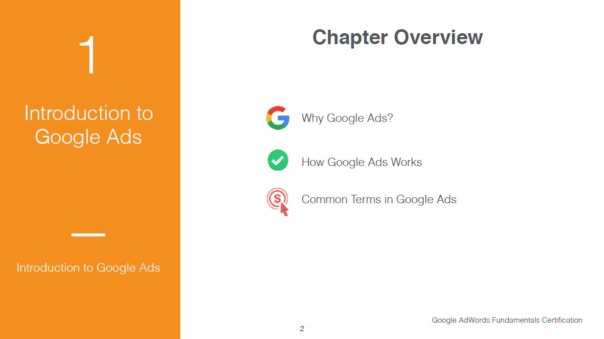 Introduction slide to Equinet Academy's Google Ads Fundamentals course