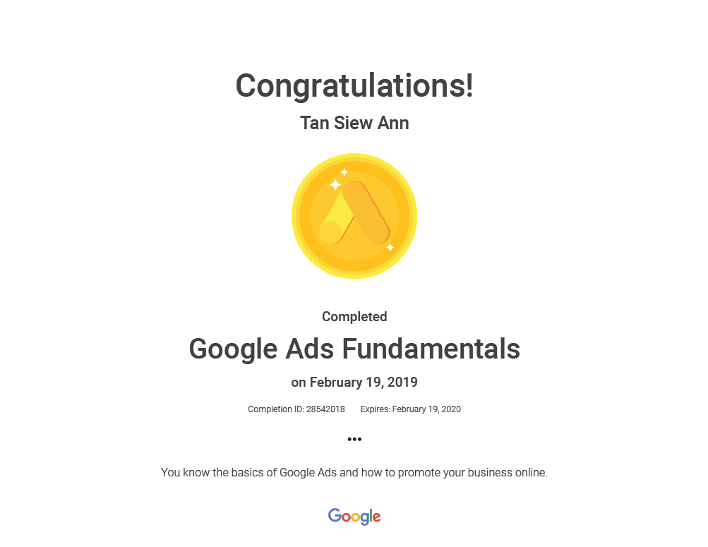 I successfully obtained my Google Ads Fundamentals certification!