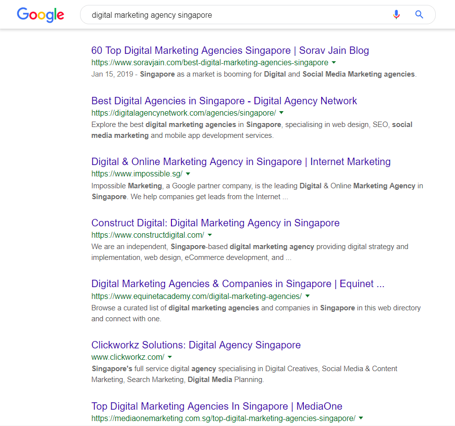 "Google search results for ""digital marketing agency singapore"""
