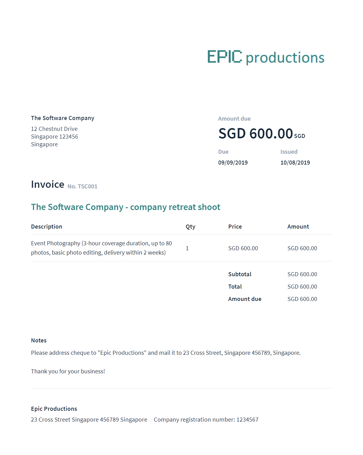 Invoice generated using And Co