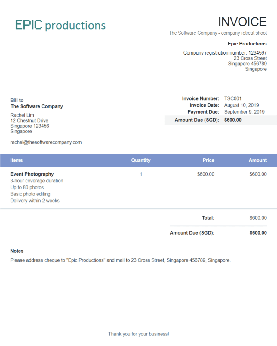 Sample invoice generated using Wave