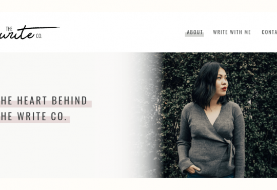 Homepage of freelance copywriter Tabitha Tan's website, The Write Co