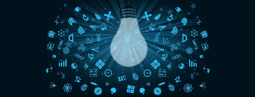 Lightbulb and other icons, such as a pencil and math formulas, to represent learning