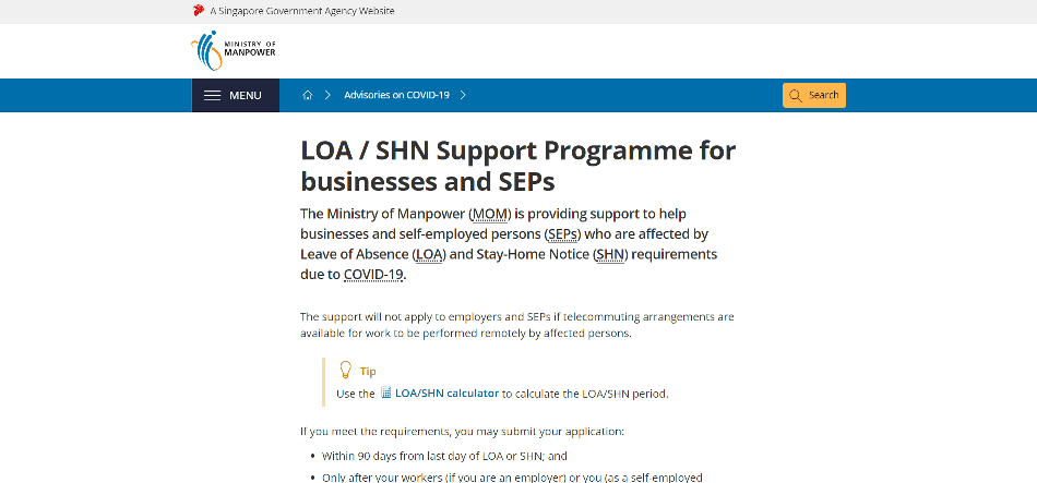 Ministry of Manpower webpage for the LOA/SHN Support Programme for self-employed persons
