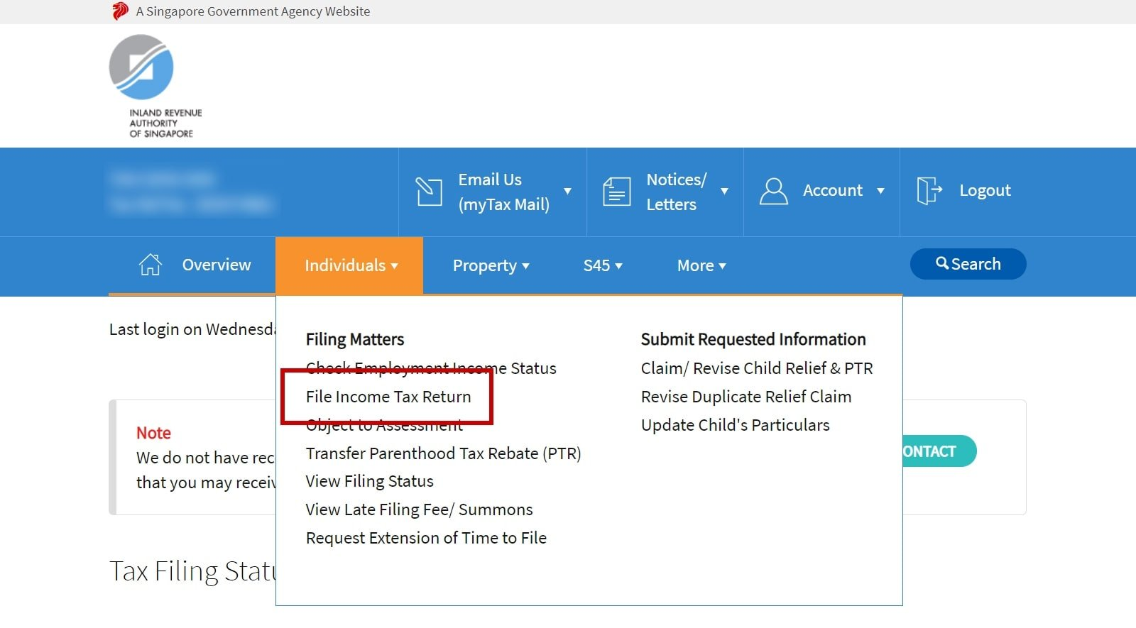 How to file personal income tax return in IRAS myTax portal
