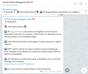 SG Part Timers #Singapore Jobs 🇸🇬 Telegram group