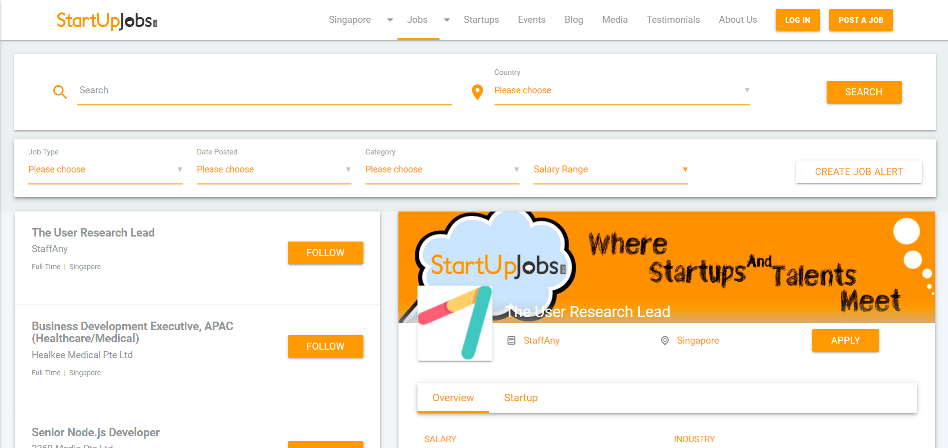 StartUp Jobs Asia homepage