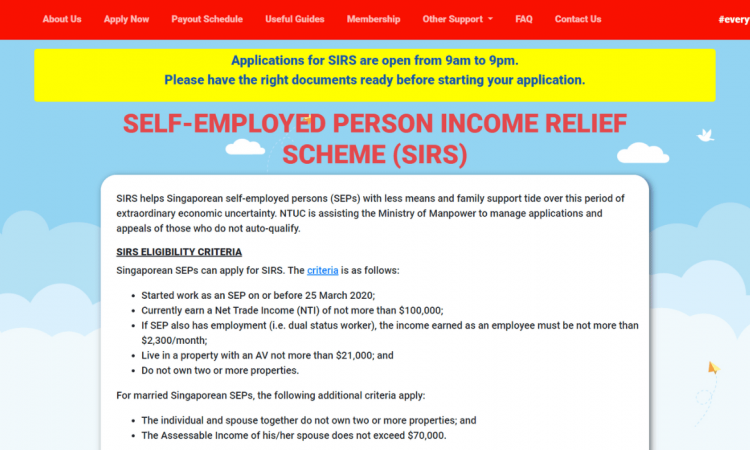 SIRS application page