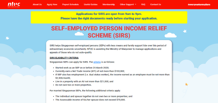 Application page for the Self-Employed Person Income Relief Scheme (SIRS)