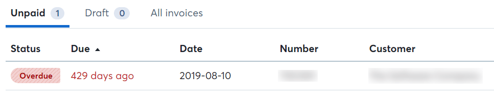 Screenshot showing an invoice that was due 429 days ago