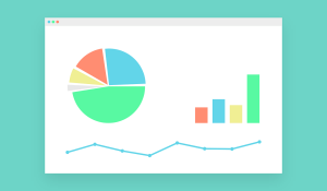 Pie chart, bar graph and line graph