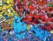 Colourful graffiti mural